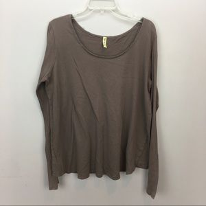 Free People Taupe Split Back Longsleeve Tee